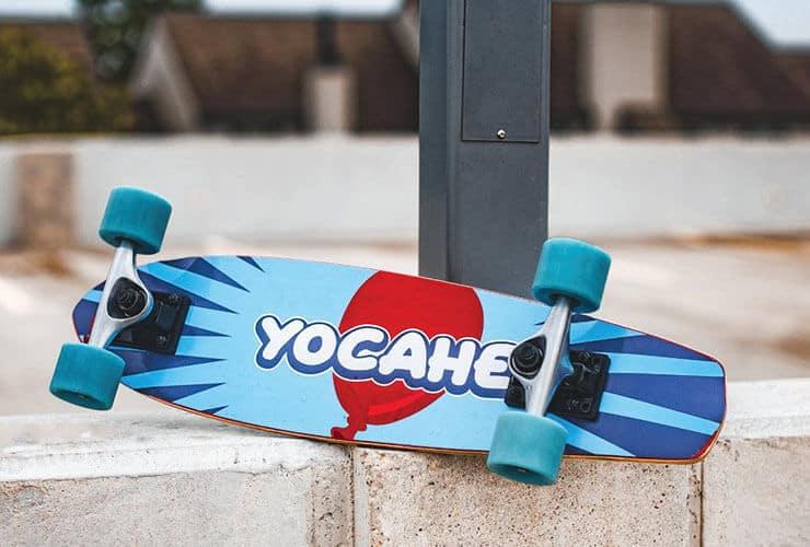 Yocaher brand longboard at skatepark