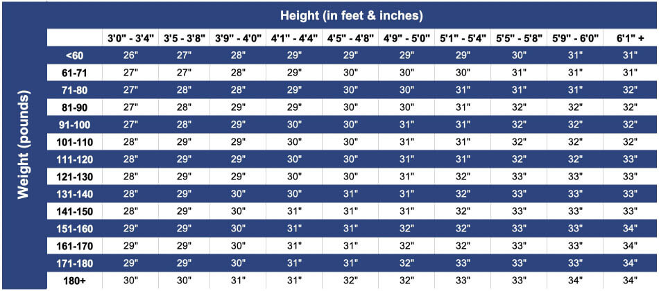 Youth Baseball Bat Size Chart
